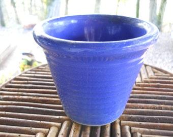 Blue Bauer Ring Flower Pot Vintage 1930s USA Studio Pottery Pottery Planter Victorian Farmhouse Cottage Garden Planter