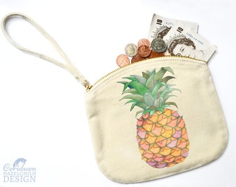 Pineapple Canvas Zip Purse, Makeup Bag, Coin Purse, Small Accessory Pouch