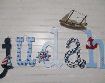 "Judah - 12.00 per letter 8-1/2"", boy nursery, lowercase letters, nautical theme, nautical nursery, ship's wheel, anchor, sailboat, navy blue"