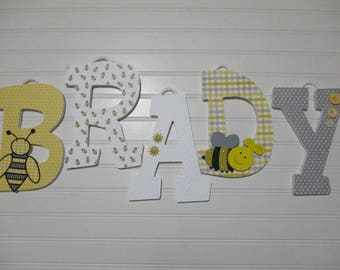 "BRADY - 12.00 PER LETTER boy's name, 8-1/2"" wooden nursery letters, bumble bees, white damask, yellow and gray plaid, eyelet flower"