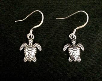 Sea-Turtle-silver-surgical-steel-small-charm-hypoallergenic-dangle-earrings