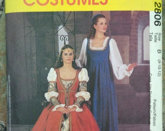 McCall's Costume Pattern 2806 Medieval Tudor 8 -12 Uncut - Discontinued