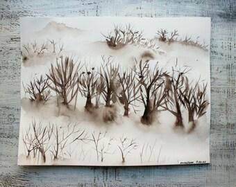 Winter trees original watercolor painting 11x14 monochrome sepia white