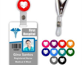 Heart EKG Badge ID Name Tag Clip - Available in 10 colors