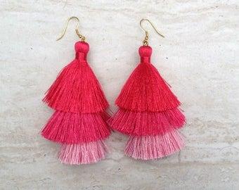 Silk Tassel Stack Earrings Red Pink Ombre Combo Tassle Earrings Red Tassle Earings, Stocking Stuffer, GIft for Her, Earrings Handmade