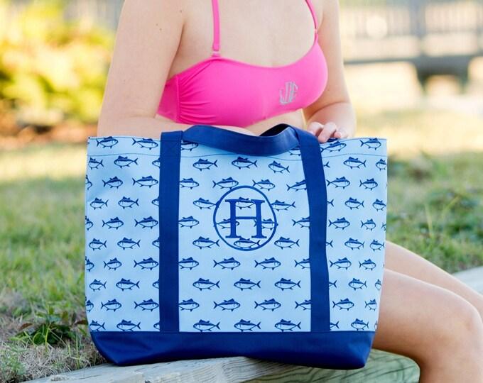 Monogrammed Tote Bag, Finn Tote Bag, Monogrammed Gifts,  Monogram Beach Tote, Boys Beach Bag, Personalized Beach Bag, Overnight Bag