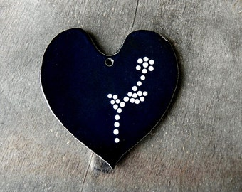 Valentine Gift Black Heart Ceramic Ornaments with White Dots Wedding Decoration Pottery Mothers Day Gift Antivalentines Heart