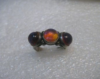 Sterling Silver Dragon's Breath Ring, Size 5, 3 stones, post mid-century