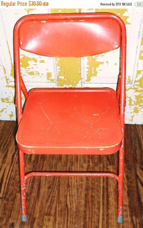 On Sale Vintage Bright Orange Childs Folding Chair Samsonite