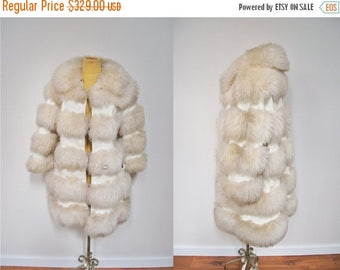 Bringing Home Baby SALE: STUNNING Vintage 1970s Shaggy SHEARLING Fur Coat Jacket Stripe Leather Penny Lane Boho Hippie