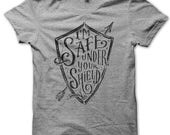 Adult S // Grey // Safe Under Your Shield // Unisex Tee