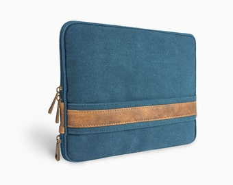 "Unique multi-pocketed sleeve canvas iPad sleeve iPad bag iPad Air case iPad Air sleeve 9"" iPad case iPad mini sleeve E2538-Blu01"