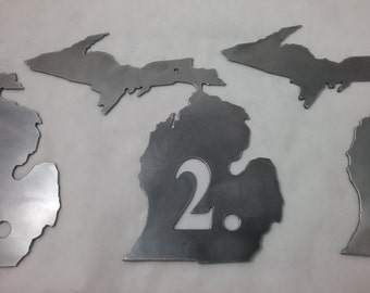 Metal Michigan State Cutout Sign for Rooms, Bed & Breakfast, Hotels, Motels