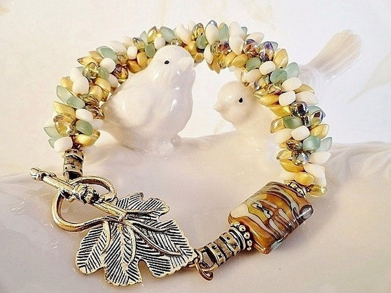 Kumihimo Bracelet, Green And Gold, Statement Bracelet, Lampwork Bracelet, Braided Bracelet, Kumihimo Jewelry, Gift For Her, JewelryByPJ