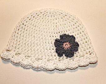 White cotton kids hat - scalloped flower beanie Hat READY TO SHIP hat - child hat - girls cotton hat