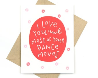 funny valentine's day card - love card - dance moves