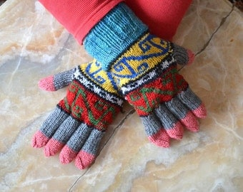 knit mittens gloves grey black brown geometric womens gloves unique gifts Christmas gifts for women men gifts under 50