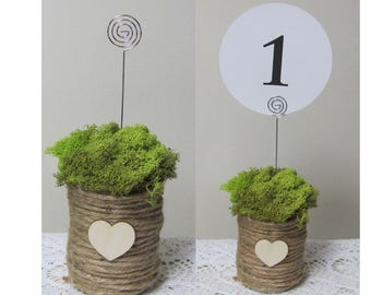 Table Number Holders, Woodland Wedding Sign Holders, Rustic Wedding Table Number Holder, Moss Number Holders, Event Table Number Holder