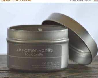 ON SALE Cinnamon Vanilla Soy Candle Tin 4 oz. - cinnamon soy candle - vanilla soy candle - fall soy candle - bakery soy candle - holiday can