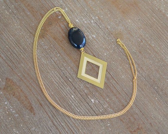 Long Geometric Necklace - Long Gold Necklace - Long Stone Charm Necklace - Long Tassel Necklace - Navy Blue Necklace - Metal Necklace