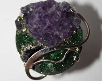 Mosaic Uvarovite, Amethyst and Pyrite Ring, 8 size WORLDWIDE FREE SHIPPING