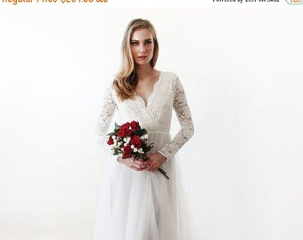 Spring Sale Ivory tulle and lace long sleeves wedding gown, Tulle and lace bridal gown, Tulle wedding empire dress 1125.
