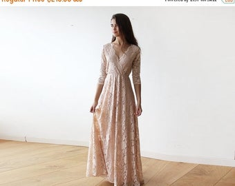 Spring Sale Pink blush long sleeves lace gown, Lace pink gown 1124