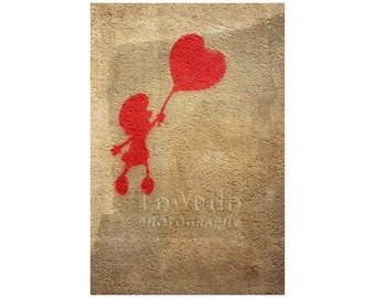Red Heart Balloon, Love, Romance, Valentine's Day, Paris Photography, Kid's Room Decor