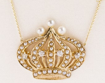 Vintage Necklace - Vintage 14k Yellow Gold Crown Diamond & Seed Pearl Necklace