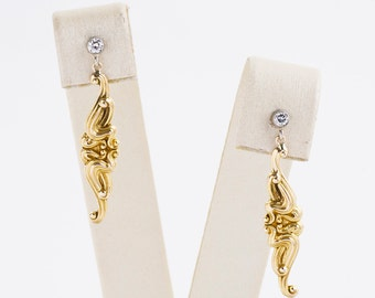 Antique Earrings - Antique Art Nouveau 14k Two-Tone Diamond Conversion Earrings