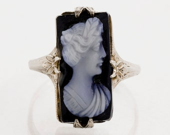 SALE - Antique Ring - Antique 14k White Gold Black Onyx Cameo Ring