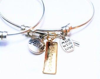 Best Friends Gifts, Bracelet Set, Silver Bangles, Mom and Daughter Jewelry, Sister Gifts, Bracelet Set, Charm Bracelet, Sterling, Bangle Set