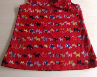 Baby girl dress size  0 0 Pinafore  with  red Scotty dogs ! handmade and unique