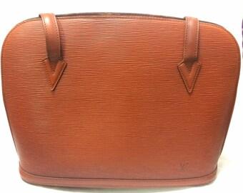 Vintage Louis Vuitton brown epi shoulder tote bag. Perfect vintage LV purse for daily use.