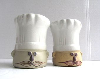 Vintage Mid Century Modern Chef Hat Salt Pepper Legardo Tackett Style Pottery