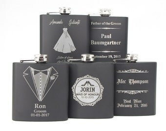 CUSTOM Engraved Groomsmen Gift, 1 Engraved Flask, Stainless Steel Flask, Personalized Best Man Gift, 1 Black Flask