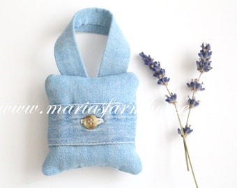 Vintage Denim, Handmade Small Fragrant Dried Lavender Hanging Sachet, Gifts for Him