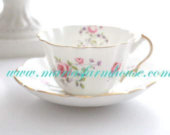 Vintage, Tea Cup and Saucer by Victoria Cartwright & Edwards, English Bone China, Little Princess Birthday Tea Party - ca. 1936+
