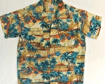 vtg 60s SOUTH PACIFIC rayon Hawaiian Shirt M Aloha Palm tree Tiki Made in Japan