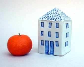 Blue And White House, Ceramic Sculpture,Mediterranean Architecture , Blue And White Ceramics