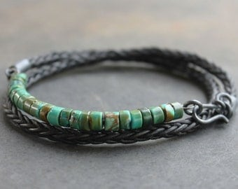 Black Leather Turquoise Mens Bracelet - Rugged braided Leather silver turquoise mens jewelry, guys gift, mens anniversary gift for him
