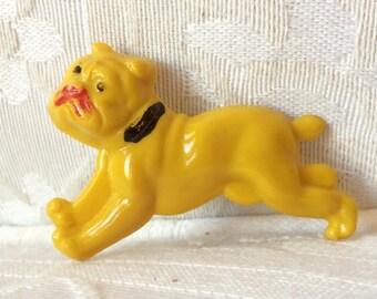 Ambers Vintage Early Plastic Bakelite Era Celluloid Bulldog Brooch Jewelry Yellow Cute