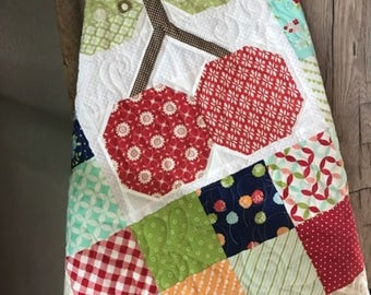 Quilt Baby/ Toddler Retro Vintage Inspired Cherry Patchwork with Bright Colors & Various Prints- READY TO SHIP!