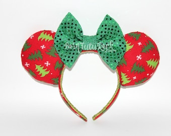 Christmas Mouse Ears // Christmas Trees Mouse Ears // Holiday Mouse Ears // by Born Tutu Rock