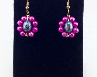 Gold earrings,hot pink pearl earrings,black pearl, freshwater pearls,dangle pearl earrings,wire wrapped earrings,beaded earrings