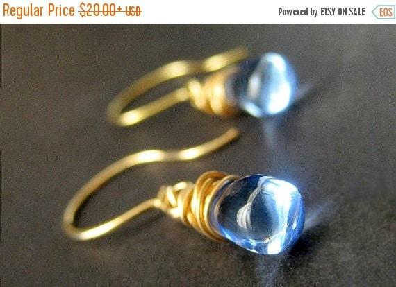 HOLIDAY SALE Drop Earrings: Wire Wrapped Earrings. Baby Blue Earrings in Gold. Dangle Earrings. Handmade Jewelry.