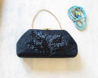 Black beaded black bag, evening purse