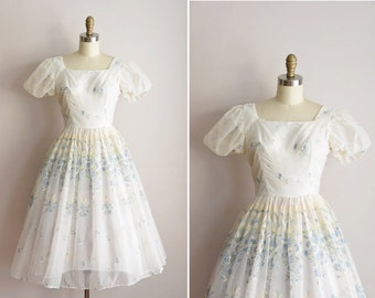 1950s Miss Mary Ford dress/ vintage 1950s party dress/ floral chiffon full skirt dress