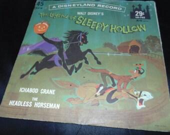 Vintage The LEGEND Of SLEEPY Hollow Walt Disney 1962 DISNEYLAND 45 Rpm Lg-762