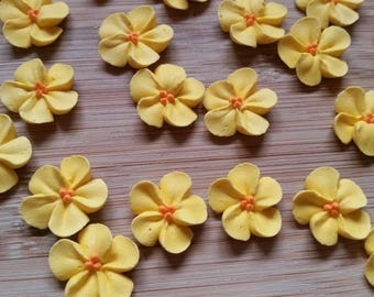 Small buttercup yellow royal icing flowers   -- Edible cake decorations cupcake toppers  (24 pieces)